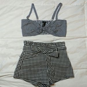 Two piece gingham suit